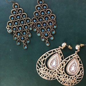 Jewelry - Gold glam earrings (2 set)